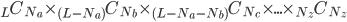 {}_L C_{N_a} \times {}_{(L-N_a)} C_{N_b} \times {}_{(L-N_a-N_b)} C_{N_c} \times ... \times {}_{N_z} C_{N_z}