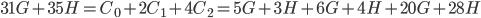 {31G + 35H = C_0 + 2C_1 + 4C_2 = 5G + 3H + 6G + 4H + 20G + 28H}