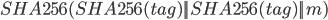 {SHA256(SHA256(tag)    SHA256(tag)    m)}
