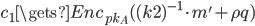 {c_1 \gets Enc_{pk_A}((k2)^{-1} \cdot m' + \rho q)}