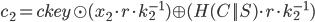 {c_2 = ckey \odot (x_2 \cdot r \cdot k_2^{-1}) \oplus (H(C || S) \cdot r \cdot k_2^{-1})}