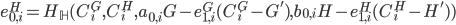 {e^{H}_{0, i} = H_{\mathbb H}(C^{G}_i, C^{H}_i, a_{0, i}G - e^{G}_{1, i}(C^{G}_i - G'), b_{0, i}H - e^{H}_{1, i}(C^{H}_i - H'))}