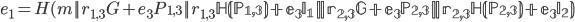 {e_1 = H(m    r_{1, 3}G + e_3P_{1, 3}    r_{1, 3} \mathbb H(P_{1, 3})  + e_3I_1    r_{2, 3}G + e_3P_{2, 3}    r_{2, 3} \mathbb H(P_{2, 3})  + e_3I_2 )}