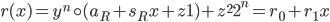 {r(x) = y^{n} \circ (a_R + s_Rx + z1) + z^{2}2^{n} = r_0 + r_1x}
