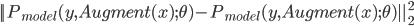||P_{model} (y, Augment(x); \theta )- P_{model} (y, Augment(x) ; \theta )||_2^2