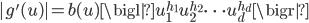  g'(u)  = b(u) \bigl  u_1^{h_1} u_2^{h_2} \cdots u_d^{h_d} \bigr 
