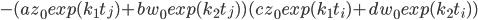 - (a z_0 exp(k_1t_j)+b w_0 exp(k_2t_j))(c z_0 exp(k_1t_i)+d w_0 exp(k_2t_i))