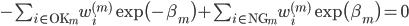 - \sum_{i \in {\rm OK}_m} w_i^{(m)} \exp \bigl( - \beta_m \bigr) + \sum_{i \in {\rm NG}_m} w_i^{(m)} \exp \bigl( \beta_m \bigr) = 0