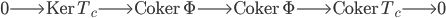 0 \longrightarrow \mathrm{Ker}\, T_c \longrightarrow \mathrm{Coker}\, \Phi \longrightarrow \mathrm{Coker}\, \Phi \longrightarrow \mathrm{Coker}\, T_c \longrightarrow 0