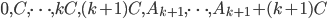 0, C, \cdots, kC, (k+1)C, A _ {k+1}, \cdots, A _ {k+1} + (k+1)C