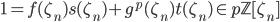 1 = f(\zeta_n)s(\zeta_n) + g^p(\zeta_n)t(\zeta_n) \in p \mathbb{Z}[\zeta_n]