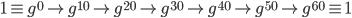1 \equiv g^0 \rightarrow g^{10} \rightarrow g^{20} \rightarrow g^{30} \rightarrow g^{40} \rightarrow g^{50} \rightarrow g^{60} \equiv 1