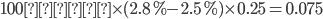 100億円 \times (2.8\%-2.5\%) \times 0.25 = 0.075