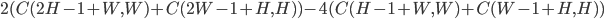 2(C(2H-1+W, W) + C(2W-1+H, H)) - 4(C(H-1+W, W) + C(W-1+H, H))