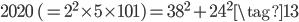 2020\; (= 2^2\times 5\times 101) = 38^2 + 24^2 \tag{13}