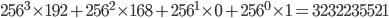 256^3 \times 192 + 256^2 \times 168 + 256^1 \times 0 + 256^0 \times 1 = 3232235521