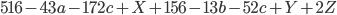 516-43a-172c+X+156-13b-52c+Y+2Z