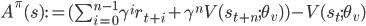 A^{\pi}(s) := (\sum_{i=0}^{n-1} \gamma^i r_{t+i} + \gamma^n V(s_{t+n}; \theta_v) ) - V(s_t; \theta_v)