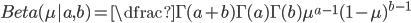 Beta(\mu| a,b) = \dfrac{\Gamma(a+b)}{\Gamma(a)\Gamma(b)}\mu^{a-1}(1-\mu)^{b-1}