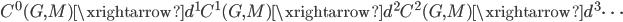 C^0(G, M) \xrightarrow{d^1} C^1(G, M)\xrightarrow{d^2} C^2(G, M)\xrightarrow{d^3} \cdots
