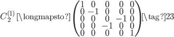C_{2}^{(1)} \;\; \longmapsto \;\; \begin{pmatrix} 1 & 0 & 0 & 0 & 0 \\ 0 & -1 & 0 & 0 & 0 \\ 0 & 0 & 0 & -1 & 0 \\ 0 & 0 & -1 & 0 & 0 \\ 0 & 0 & 0 & 0 & 1 \end{pmatrix} \tag{23}