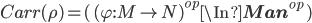 Carr(\rho) = (\,(\varphi : M \to N)^{op} \In {\bf Man}^{op}\,)