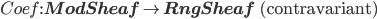 Coef: {\bf ModSheaf} \to {\bf RngSheaf} \mbox{  (contravariant)}