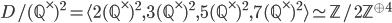 D/(\mathbb{Q}^\times)^2 = \langle 2(\mathbb{Q}^\times)^2, 3(\mathbb{Q}^\times)^2, 5(\mathbb{Q}^\times)^2, 7(\mathbb{Q}^\times)^2  \rangle \simeq \mathbb{Z}/2\mathbb{Z}^{\oplus 4}