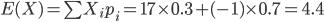 E(X) = \sum X_i p_i = 17\times0.3 + (-1) \times 0.7 = 4.4