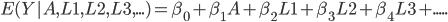 E(Y|A, L1, L2, L3,...) = \beta_0 +\beta_1A + \beta_2L1 + \beta_3L2 + \beta_4L3 + .....