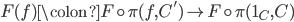 F(f) \colon F \circ \pi(f, C') \to F \circ \pi(1_{C},C)