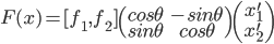 F(x) = [f_1, f_2 ] \begin{pmatrix}cos \theta & -sin \theta\\ sin \theta & cos \theta \end{pmatrix}\begin{pmatrix} x_1^{\prime}\\x_2^{\prime} \end{pmatrix}