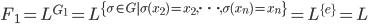 F_1 = L^{G_1} = L^{\{\sigma \in G \operatorname{ } \sigma(x_{2}) = x_{2}, \cdots , \sigma(x_n) = x_n\}} = L^{\{e\}} = L