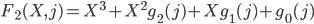 F_2 (X, j) = X^{3} + X^{2} g_2(j) + X g_1(j) + g_0(j)