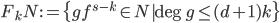 F_kN := \{gf^{s-k} \in N| \deg{g} \leq (d+1)k\}