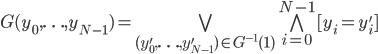 G(y_0, \ldots, y_{N-1}) = \bigvee_{(y'_0, \ldots, y'_{N-1}) \in G^{-1}(1)} \bigwedge_{i=0}^{N-1} [y_i = y'_i]