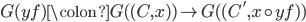 G(yf) \colon G( (C,x)) \to G( (C', x \circ yf))