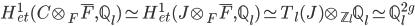H^1_{et}(C\otimes_F \overline{F}, \mathbb{Q}_l) \simeq H^1_{et}(J\otimes_F \overline{F}, \mathbb{Q}_l) \simeq T_l(J) \otimes_{\mathbb{Z}_l} \mathbb{Q}_l \simeq \mathbb{Q}_l^{2g}