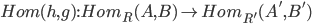 Hom(h, g):Hom_R(A, B) \to Hom_{R'}(A', B')