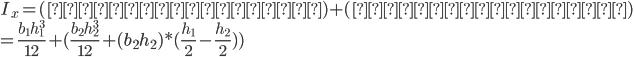 I_x = (縦長の長方形) + (横長の長方形) \\ = \frac{b_1h_1^3}{12} + (\frac{b_2h_2^3}{12} + (b_2h_2)*(\frac{h_1}{2}-\frac{h_2}{2}) )