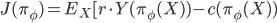J( \pi_\phi) = E_X [ r \cdot Y(\pi_\phi(X)) - c(\pi_\phi(X))