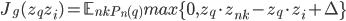 J_g(z_q z_i) = \mathbb{E}_{nk~P_n(q)} max\{0, z_q \cdot z_{nk}-z_q \cdot z_{i} + \Delta\}
