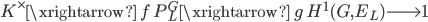 K^\times \xrightarrow{\;f\;} P_L^G \xrightarrow{\;g\;} H^1(G, E_L) \longrightarrow 1