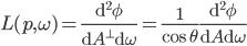 L(p, \omega) = \frac{\mathrm{d}^2\phi}{\mathrm{d}A^\perp \mathrm{d}\omega} = \frac{1}{\cos \theta} \frac{\mathrm{d}^2 \phi}{\mathrm{d}A \mathrm{d}\omega}