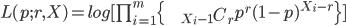 L(p;r,X)=log[\prod_{i=1}^{m}\{\begin{eqnarray*}   && {}_{X_i-1} C _r  \end{eqnarray*}p^r(1-p)^{X_i-r}\}]