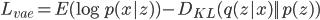 L_{vae} = E(\log p(x | z)) - D_{KL}(q(z | x) || p(z))