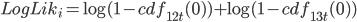 LogLik_i = \log(1-cdf_{12t}(0)) + \log(1-cdf_{13t}(0))