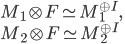 M_1 \otimes F \simeq M_1^{\oplus I}, \\ M_2 \otimes F \simeq M_2^{\oplus I}