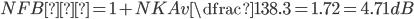 NFB量 = 1+NK Av \dfrac {1}{38.3} = 1.72 = 4.71dB