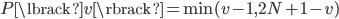 P \lbrack v \rbrack = \min(v - 1, 2N+1-v)